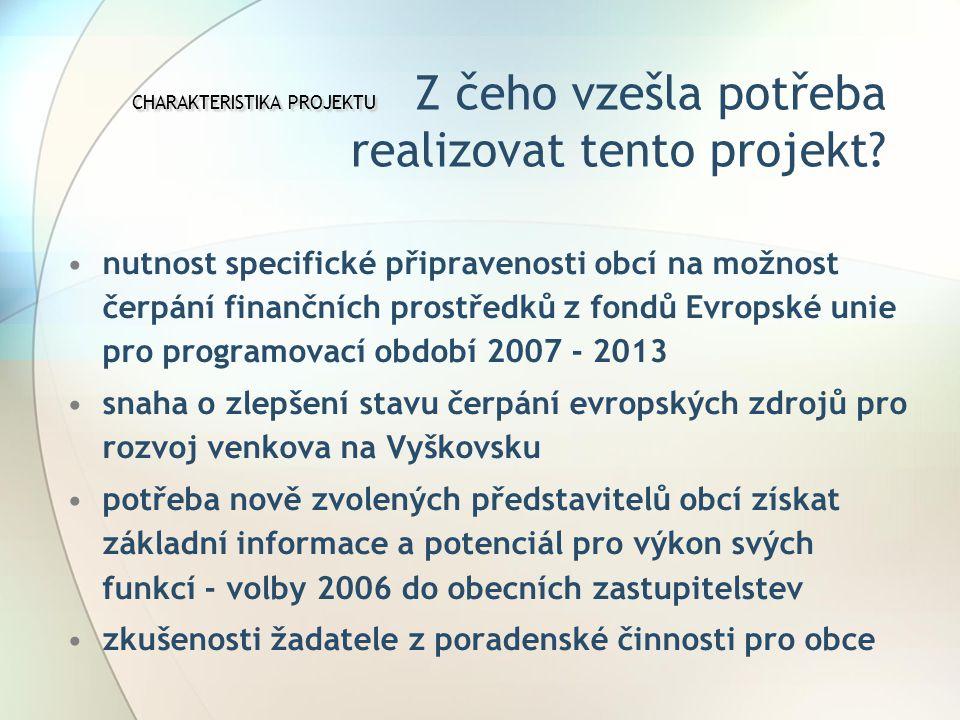 CHARAKTERISTIKA PROJEKTU CHARAKTERISTIKA PROJEKTU Z čeho vzešla potřeba realizovat tento projekt.