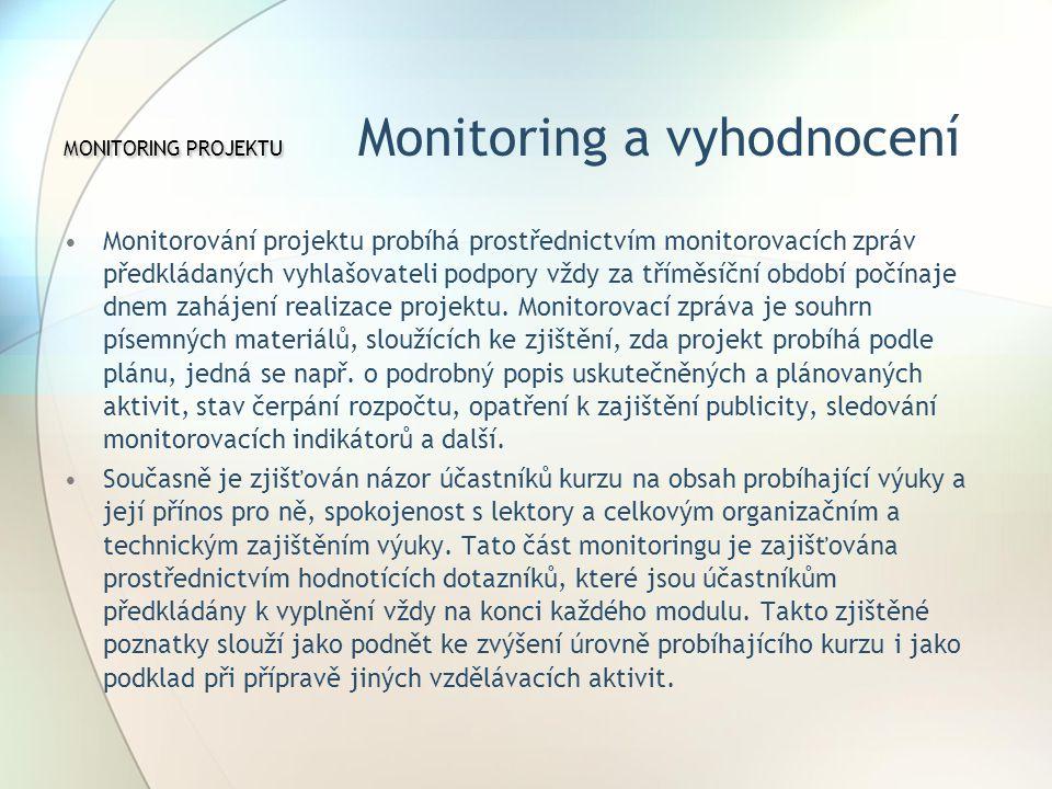MONITORING PROJEKTU MONITORING PROJEKTU Monitoring a vyhodnocení Monitorování projektu probíhá prostřednictvím monitorovacích zpráv předkládaných vyhlašovateli podpory vždy za tříměsíční období počínaje dnem zahájení realizace projektu.
