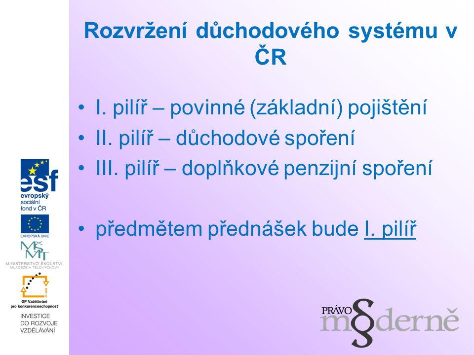 Rozvržení důchodového systému v ČR I. pilíř – povinné (základní) pojištění II. pilíř – důchodové spoření III. pilíř – doplňkové penzijní spoření předm
