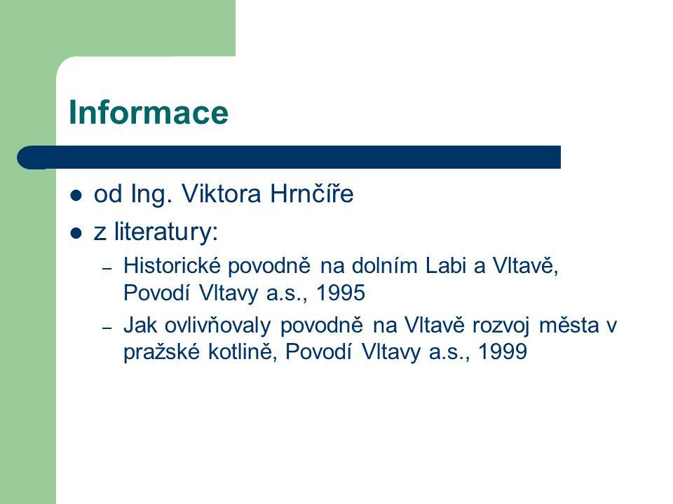 Informace od Ing. Viktora Hrnčíře z literatury: – Historické povodně na dolním Labi a Vltavě, Povodí Vltavy a.s., 1995 – Jak ovlivňovaly povodně na Vl