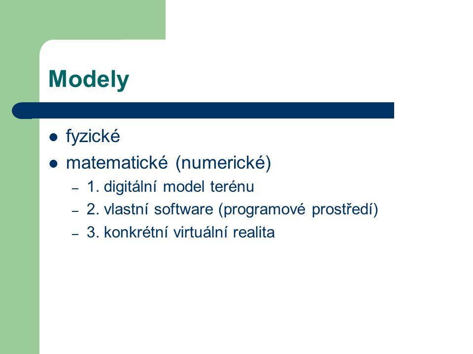 Modely fyzické matematické (numerické) – 1. digitální model terénu – 2. vlastní software (programové prostředí) – 3. konkrétní virtuální realita