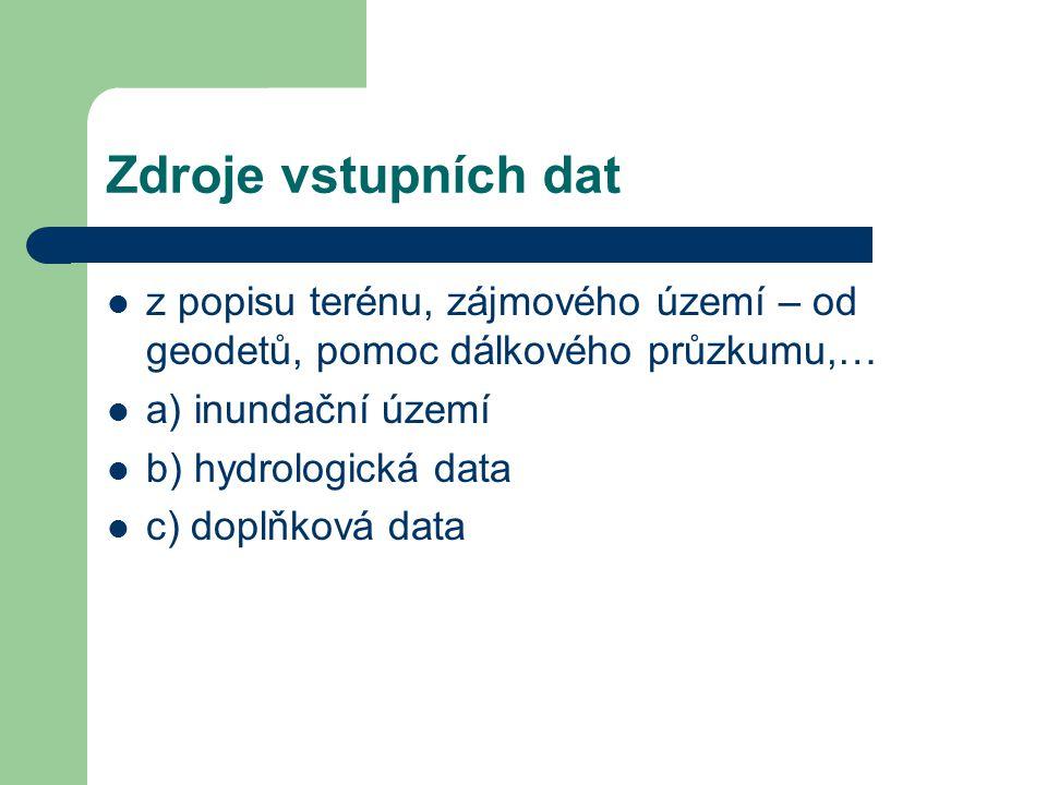 Zdroje vstupních dat z popisu terénu, zájmového území – od geodetů, pomoc dálkového průzkumu,… a) inundační území b) hydrologická data c) doplňková da