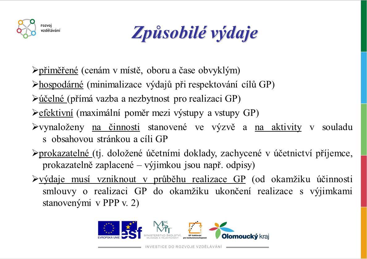 Způsobilé výdaje  přiměřené (cenám v místě, oboru a čase obvyklým)  hospodárné (minimalizace výdajů při respektování cílů GP)  účelné (přímá vazba a nezbytnost pro realizaci GP)  efektivní (maximální poměr mezi výstupy a vstupy GP)  vynaloženy na činnosti stanovené ve výzvě a na aktivity v souladu s obsahovou stránkou a cíli GP  prokazatelné (tj.