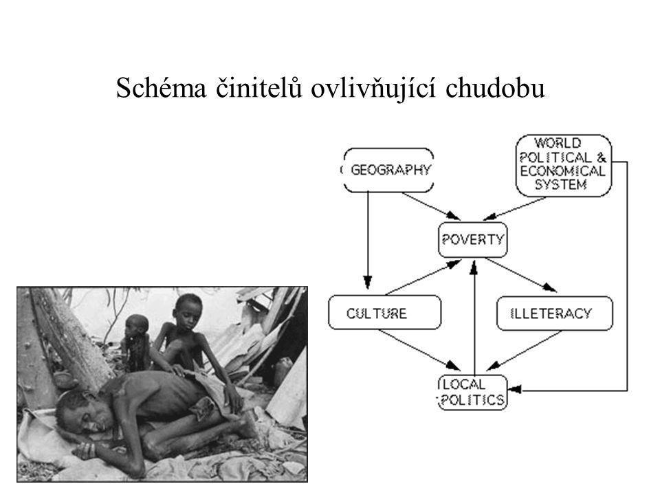 Schéma činitelů ovlivňující chudobu