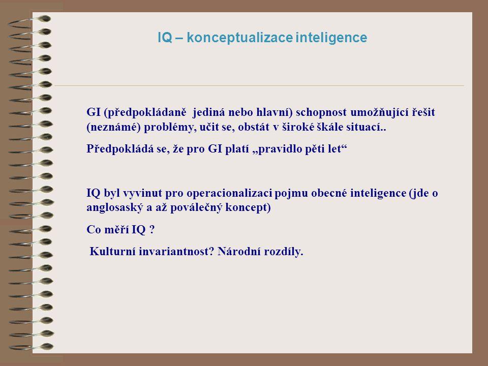 IQ – konceptualizace inteligence GI (předpokládaně jediná nebo hlavní) schopnost umožňující řešit (neznámé) problémy, učit se, obstát v široké škále s