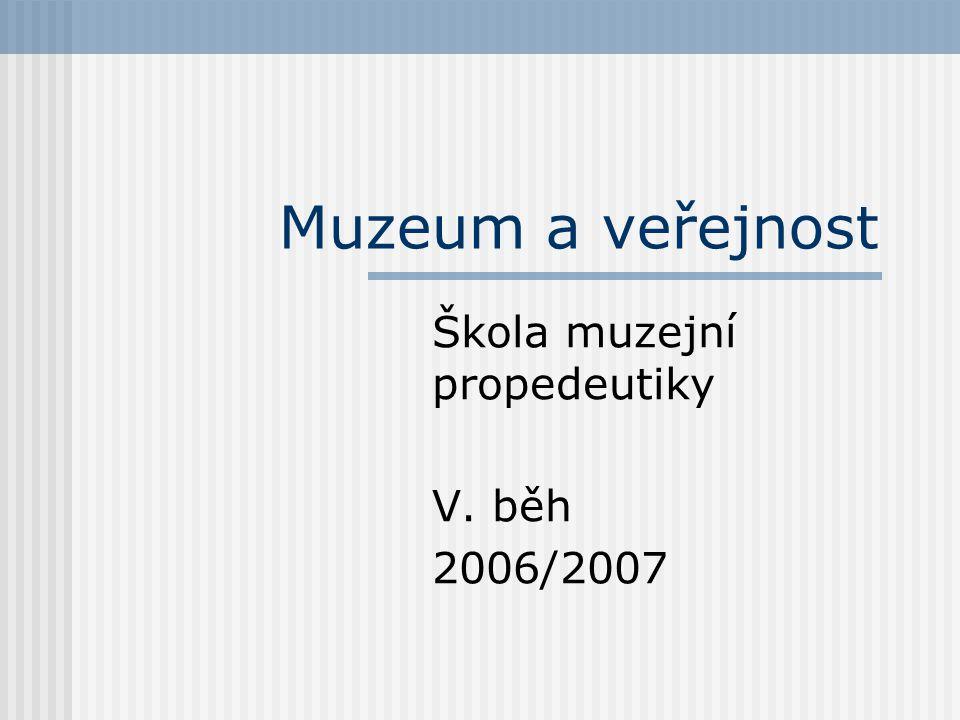 Proč se má muzeum zabývat veřejností aby mohlo plnit svou úlohu ve společnosti, musí docílit, aby veřejnost chápala jeho účel a uměla využívat služeb, které jí poskytuje: veřejnost musí muzea umět/chtít navštěvovat musí umět/být kompetentní pracovat s informacemi, které jí muzeum poskytuje musí se do muzea umět/chtít vracet muzeum se musí snažit efektivně poznat potřeby svých klientů/publika