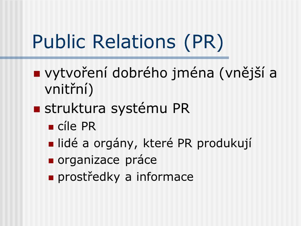 Public Relations (PR) vytvoření dobrého jména (vnější a vnitřní) struktura systému PR cíle PR lidé a orgány, které PR produkují organizace práce prost