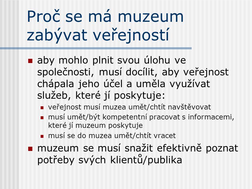 Proč se má muzeum zabývat veřejností aby mohlo plnit svou úlohu ve společnosti, musí docílit, aby veřejnost chápala jeho účel a uměla využívat služeb,