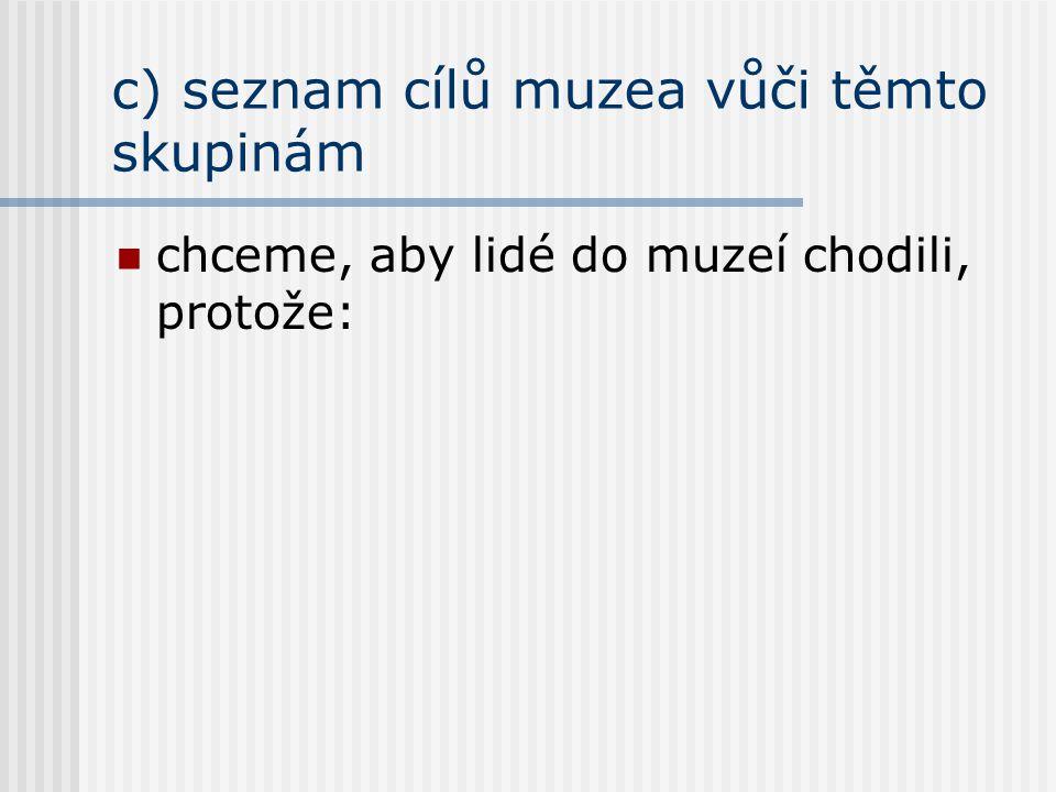 c) seznam cílů muzea vůči těmto skupinám chceme, aby lidé do muzeí chodili, protože: