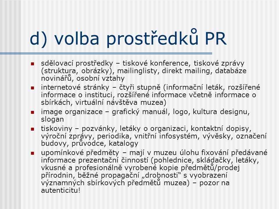 d) volba prostředků PR sdělovací prostředky – tiskové konference, tiskové zprávy (struktura, obrázky), mailinglisty, direkt mailing, databáze novinářů