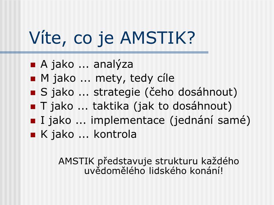 Víte, co je AMSTIK? A jako... analýza M jako... mety, tedy cíle S jako... strategie (čeho dosáhnout) T jako... taktika (jak to dosáhnout) I jako... im