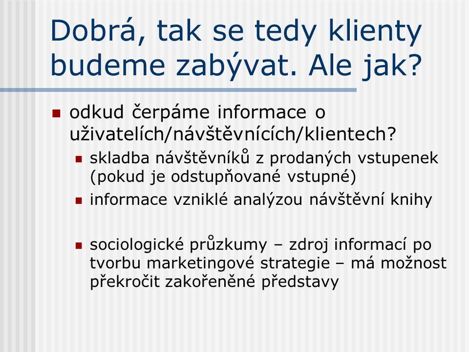 Marketing marketingové informační systémy úlohou úspěšné organizace je určovat potřeby, požadavky a zájmy cílových trhů a uspokojovat je takovým způsobem, aby se zvyšoval blahobyt spotřebitele a společnosti je třeba systematicky zkoumat a poznávat potřeby trhu – vnitřní a vnější zdroje marketingový mix – produkt, cena, propagace a distribuce marketing je do sféry neziskových organizací přenesen z komerční sféry – selhává v oblasti kultury – psychologické motivace a postoje, komplexnost kultury