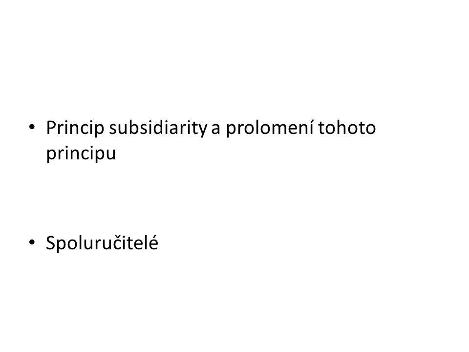 Princip subsidiarity a prolomení tohoto principu Spoluručitelé