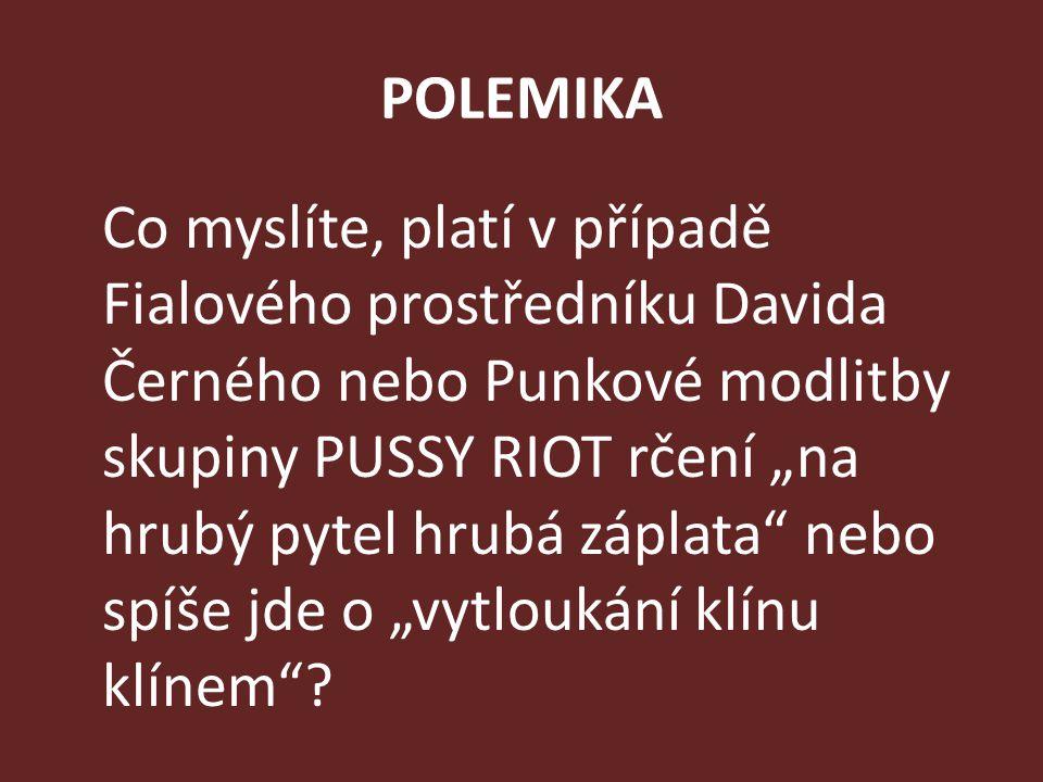 """POLEMIKA Co myslíte, platí v případě Fialového prostředníku Davida Černého nebo Punkové modlitby skupiny PUSSY RIOT rčení """"na hrubý pytel hrubá záplat"""
