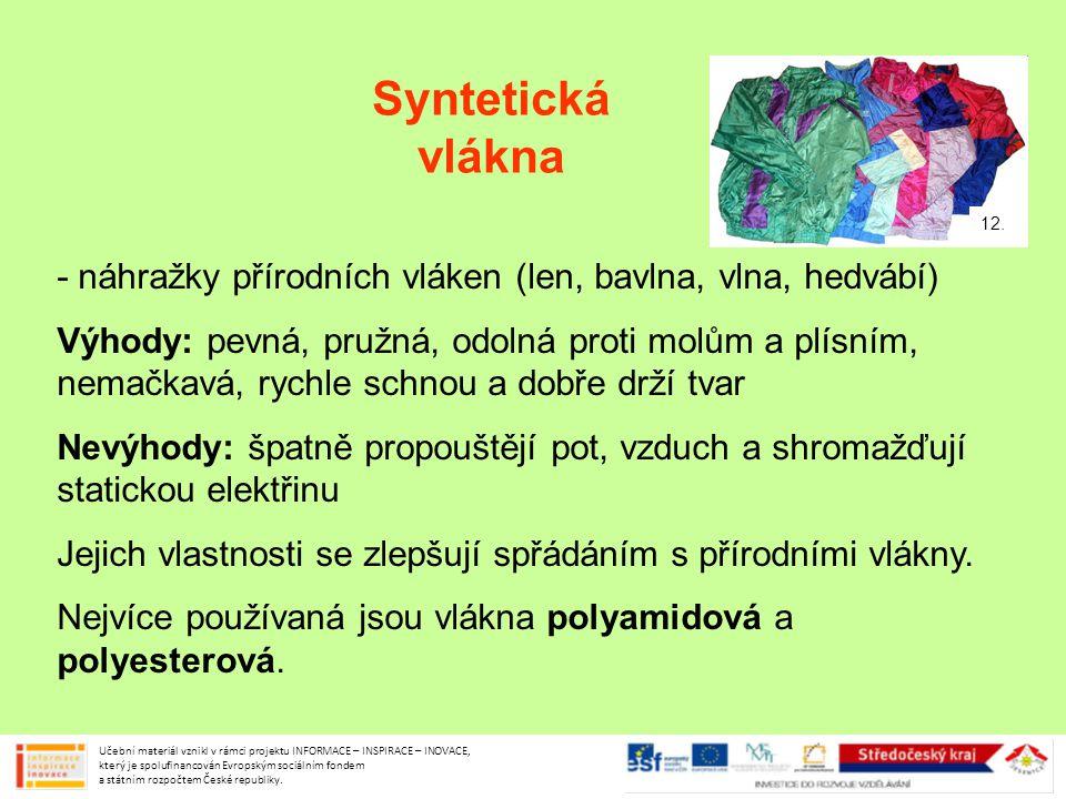 Syntetická vlákna - náhražky přírodních vláken (len, bavlna, vlna, hedvábí) Výhody: pevná, pružná, odolná proti molům a plísním, nemačkavá, rychle sch