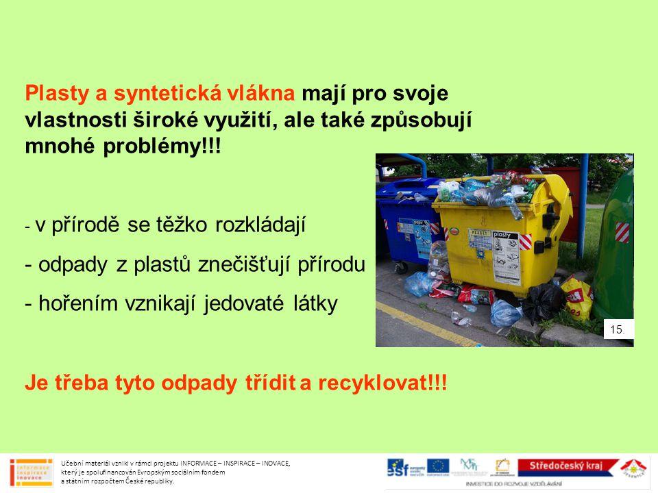 Plasty a syntetická vlákna mají pro svoje vlastnosti široké využití, ale také způsobují mnohé problémy!!! - v přírodě se těžko rozkládají - odpady z p