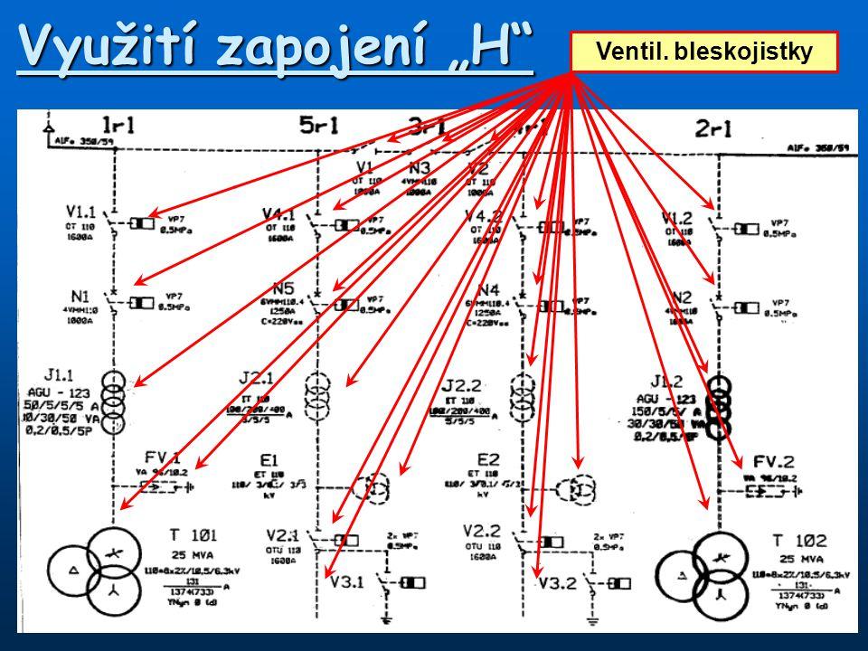 """Využití zapojení """"H"""" Přívodní vedení vvnVývod na trafoVýkonové vypínačeOdpojovače vvnPTPPTNVentil. bleskojistky"""