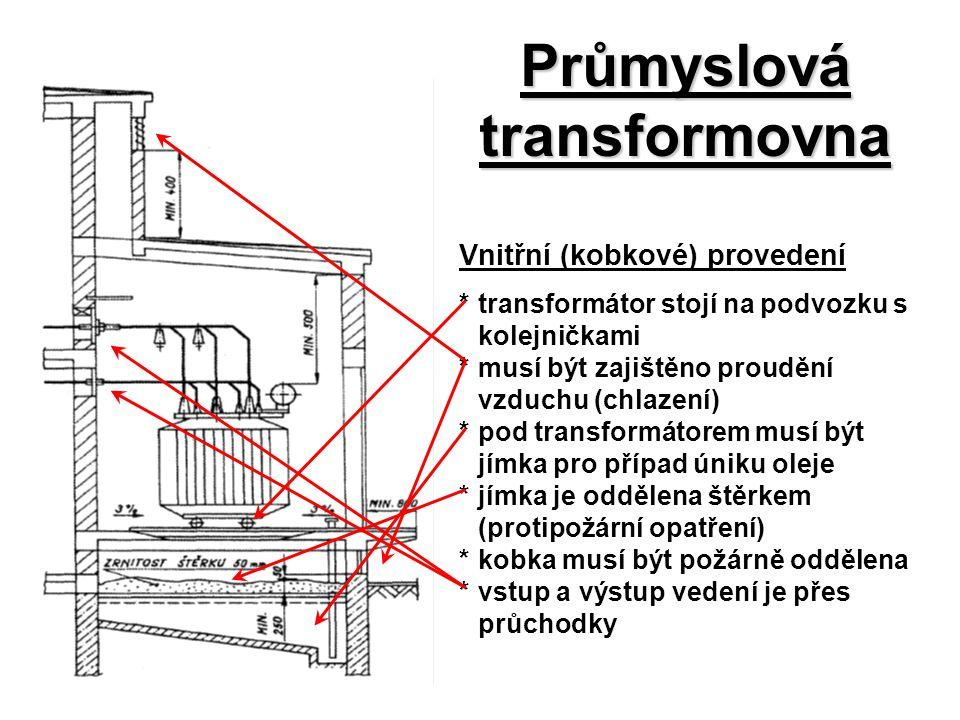 Průmyslová transformovna Vnitřní (kobkové) provedení *transformátor stojí na podvozku s kolejničkami *musí být zajištěno proudění vzduchu (chlazení) *
