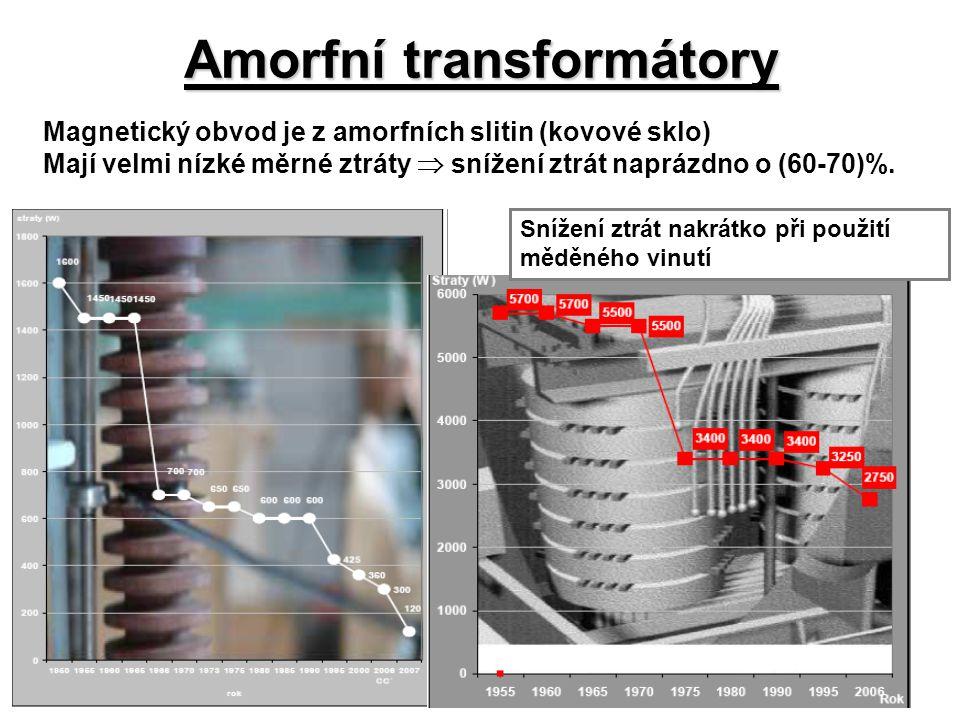 Amorfní transformátory Magnetický obvod je z amorfních slitin (kovové sklo) Mají velmi nízké měrné ztráty  snížení ztrát naprázdno o (60-70)%. Snížen