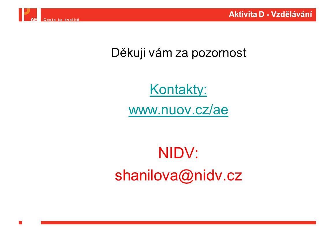 Aktivita D - Vzdělávání Děkuji vám za pozornost Kontakty: www.nuov.cz/ae NIDV: shanilova@nidv.cz