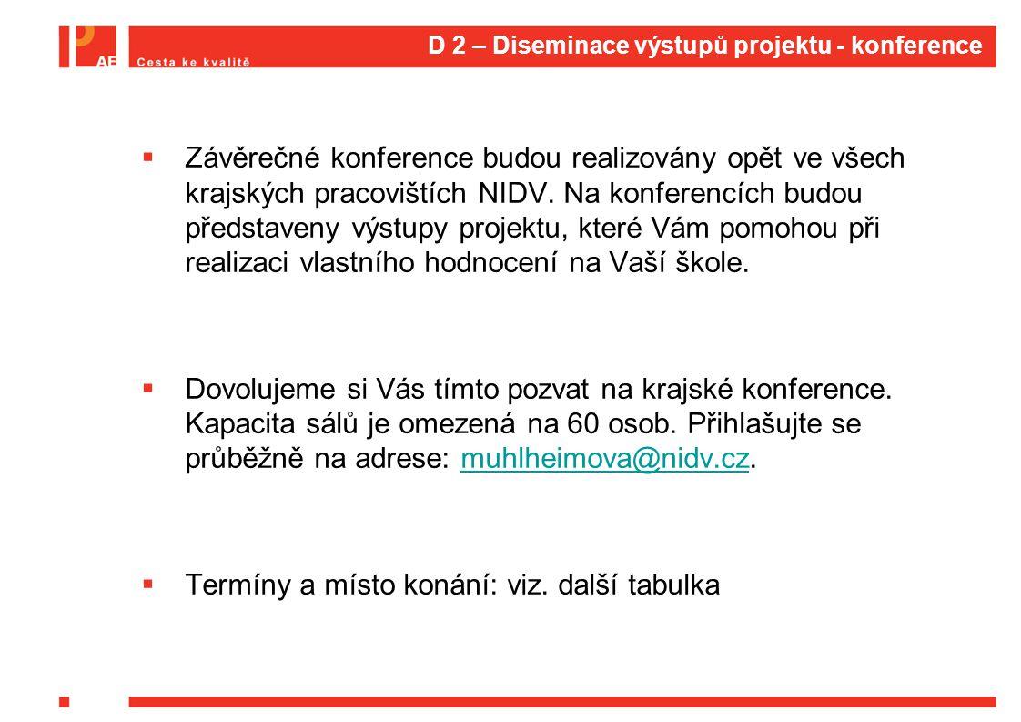 D 2 – Diseminace výstupů projektu - konference  Závěrečné konference budou realizovány opět ve všech krajských pracovištích NIDV.