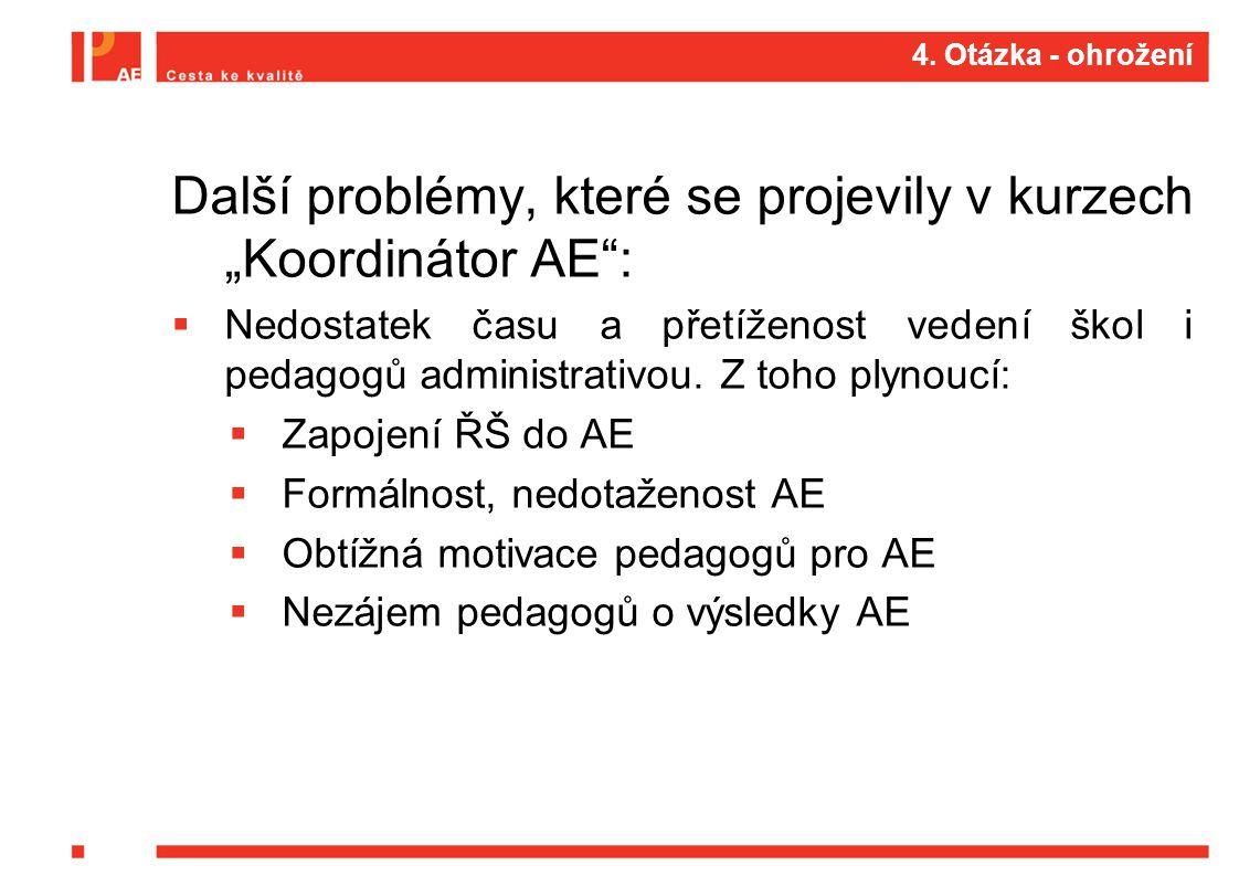 """4. Otázka - ohrožení Další problémy, které se projevily v kurzech """"Koordinátor AE"""":  Nedostatek času a přetíženost vedení škol i pedagogů administrat"""