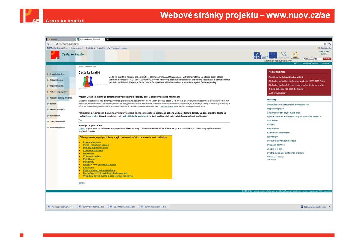 Aktivita B: Vývoj a ověřování  Závazky projektu:  B1: Zveřejnění 30 ověřených evaluačních nástrojů (včetně podpory elektronického sběru dat a vyhodnocování)  B2: Zveřejnění 20 příkladů inspirativní praxe  B3: Metodika propojení AE a externí evaluace  B4: Elektronický slovník AE