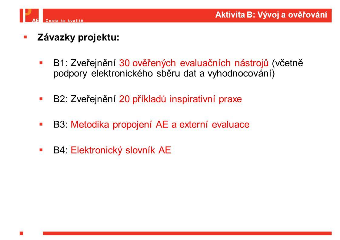 B1: Přehled vytvářených evaluačních nástrojů (30) Úrovně procesů práce školypočet EN žák5 třída10 učitel13 škola21 okolí1 Typ školypočet EN MŠ speciální5 1.