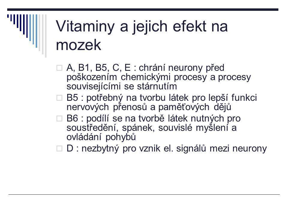 Vitaminy a jejich efekt na mozek  A, B1, B5, C, E : chrání neurony před poškozením chemickými procesy a procesy souvisejícími se stárnutím  B5 : pot