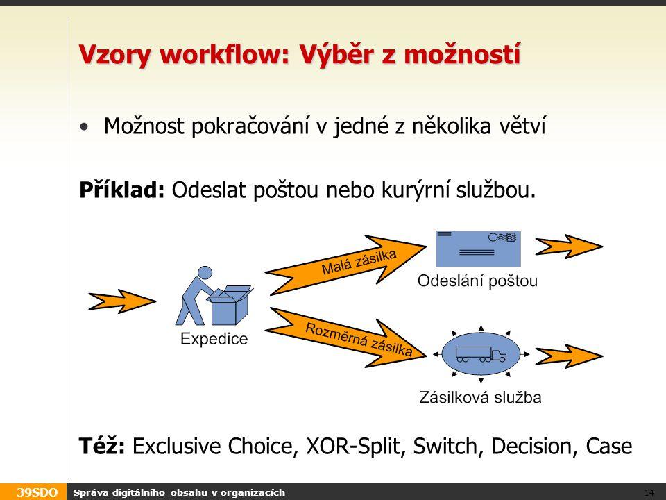 39SDO Správa digitálního obsahu v organizacích 14 Vzory workflow: Výběr z možností Možnost pokračování v jedné z několika větví Příklad: Odeslat pošto