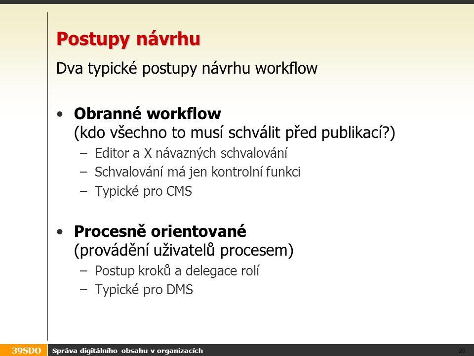 39SDO Postupy návrhu Dva typické postupy návrhu workflow Obranné workflow (kdo všechno to musí schválit před publikací?) –Editor a X návazných schvalo