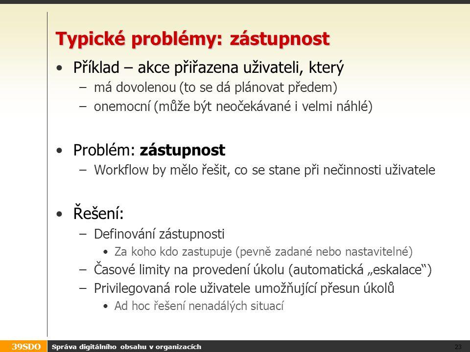 39SDO Typické problémy: zástupnost Příklad – akce přiřazena uživateli, který –má dovolenou (to se dá plánovat předem) –onemocní (může být neočekávané
