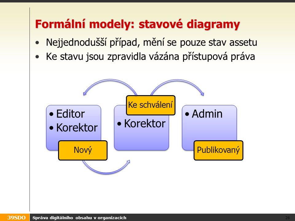 39SDO Formální modely: stavové diagramy Nejjednodušší případ, mění se pouze stav assetu Ke stavu jsou zpravidla vázána přístupová práva Správa digitál