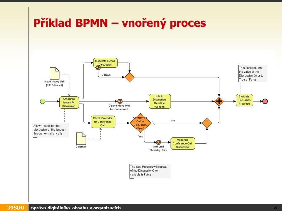 39SDO Příklad BPMN – vnořený proces Správa digitálního obsahu v organizacích 35