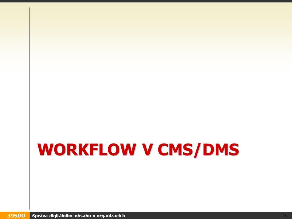 39SDO WORKFLOW V CMS/DMS Správa digitálního obsahu v organizacích 36