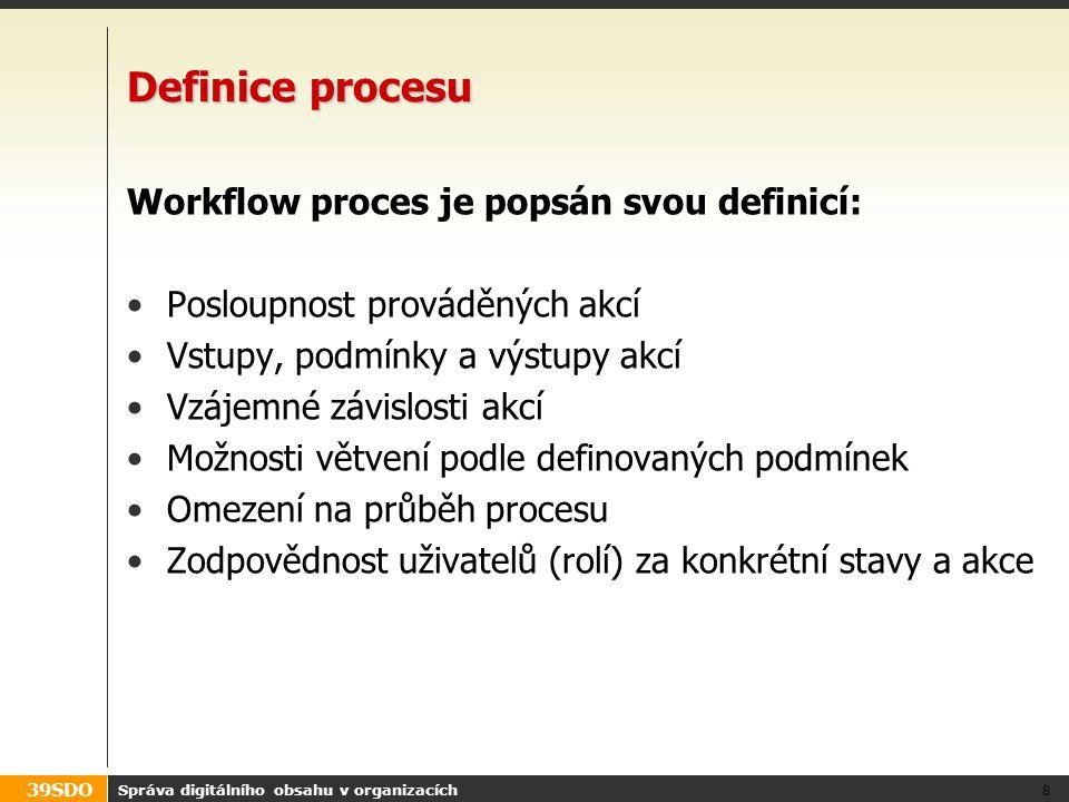 39SDO CMS a workflow – co požadovat Hledejte CMS podporující navržené procesy Většina velkých CMS obsahuje vizuální návrhář workflow kombinující stavový diagram a různé akce U většiny lze vystavět programové workflow na bázi akcí Některé CMS umožňují integraci s externími workflow typu BPEL Workflow bývá podružné u WCMS, podstatné u DMS Správa digitálního obsahu v organizacích 39