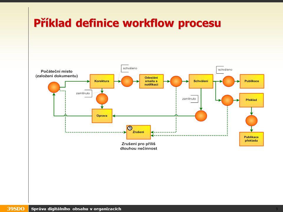 39SDO Postupy návrhu Dva typické postupy návrhu workflow Obranné workflow (kdo všechno to musí schválit před publikací?) –Editor a X návazných schvalování –Schvalování má jen kontrolní funkci –Typické pro CMS Procesně orientované (provádění uživatelů procesem) –Postup kroků a delegace rolí –Typické pro DMS Správa digitálního obsahu v organizacích 20