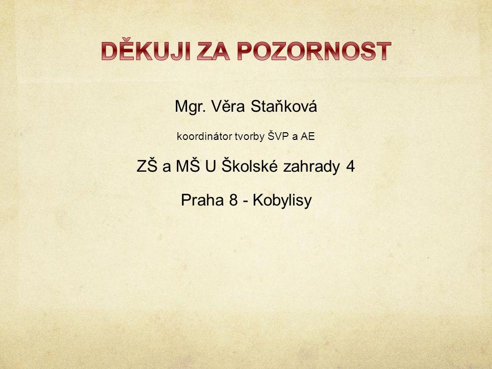 Mgr. Věra Staňková koordinátor tvorby ŠVP a AE ZŠ a MŠ U Školské zahrady 4 Praha 8 - Kobylisy