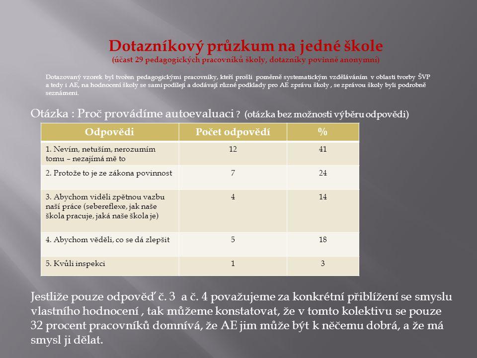 Dotazníkový průzkum na jedné škole (účast 29 pedagogických pracovníků školy, dotazníky povinně anonymní) Otázka : Proč provádíme autoevaluaci ? (otázk