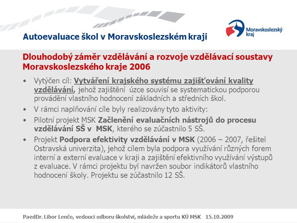 Autoevaluace škol v Moravskoslezském kraji PaedDr. Libor Lenčo, vedoucí odboru školství, mládeže a sportu KÚ MSK 15.10.2009 Dlouhodobý záměr vzděláván