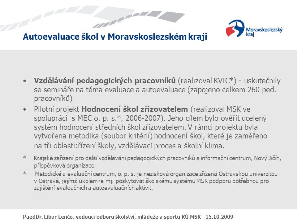 Autoevaluace škol v Moravskoslezském kraji PaedDr. Libor Lenčo, vedoucí odboru školství, mládeže a sportu KÚ MSK 15.10.2009 Vzdělávání pedagogických p