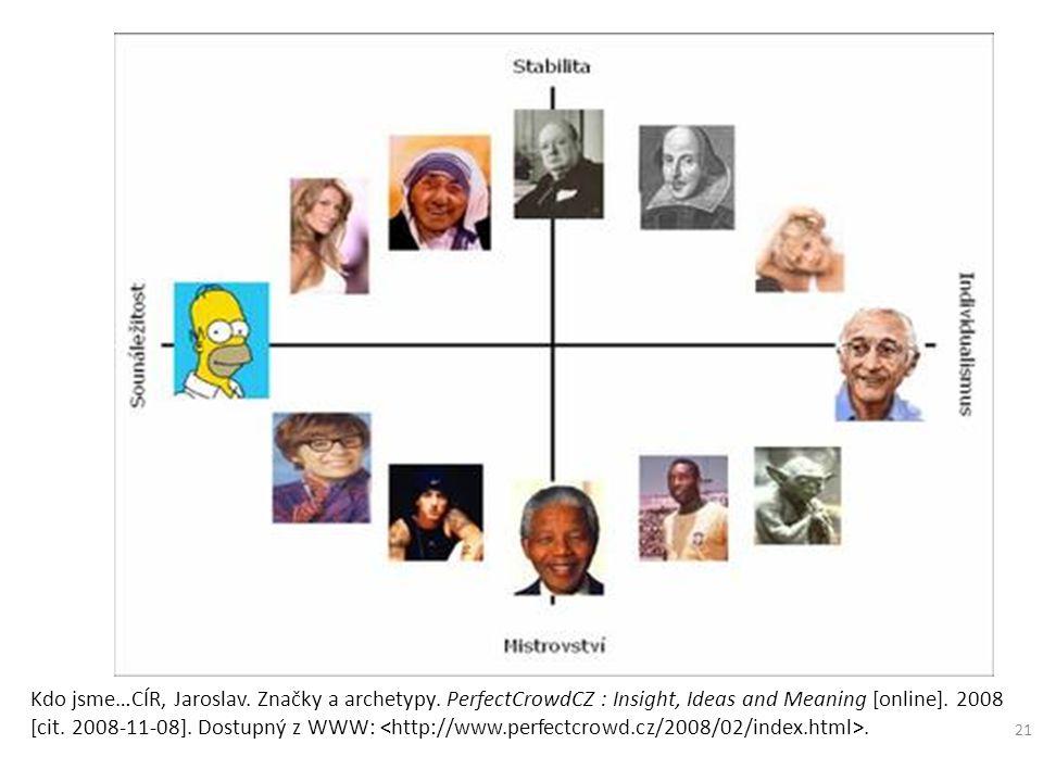21 Kdo jsme…CÍR, Jaroslav. Značky a archetypy. PerfectCrowdCZ : Insight, Ideas and Meaning [online]. 2008 [cit. 2008-11-08]. Dostupný z WWW:.