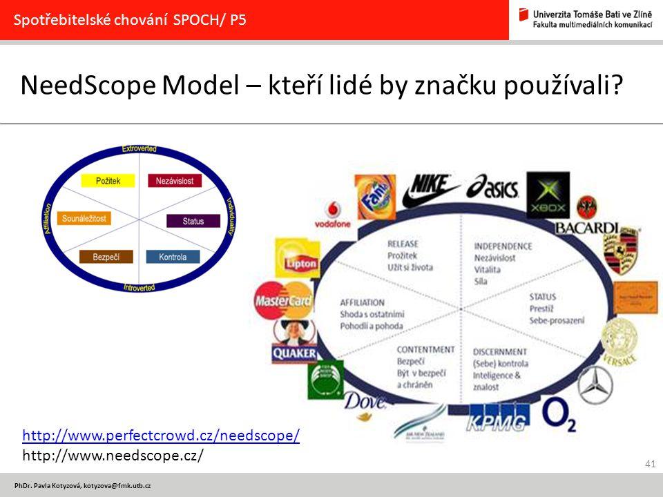 41 PhDr. Pavla Kotyzová, kotyzova@fmk.utb.cz NeedScope Model – kteří lidé by značku používali? Spotřebitelské chování SPOCH/ P5 http://www.perfectcrow