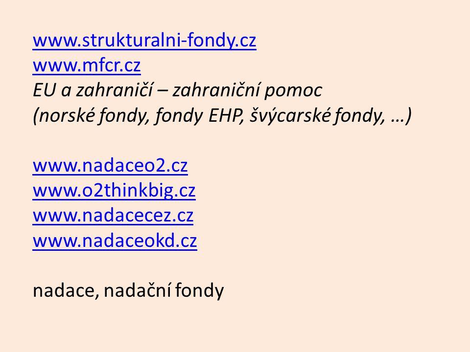 www.strukturalni-fondy.cz www.mfcr.cz EU a zahraničí – zahraniční pomoc (norské fondy, fondy EHP, švýcarské fondy, …) www.nadaceo2.cz www.o2thinkbig.c