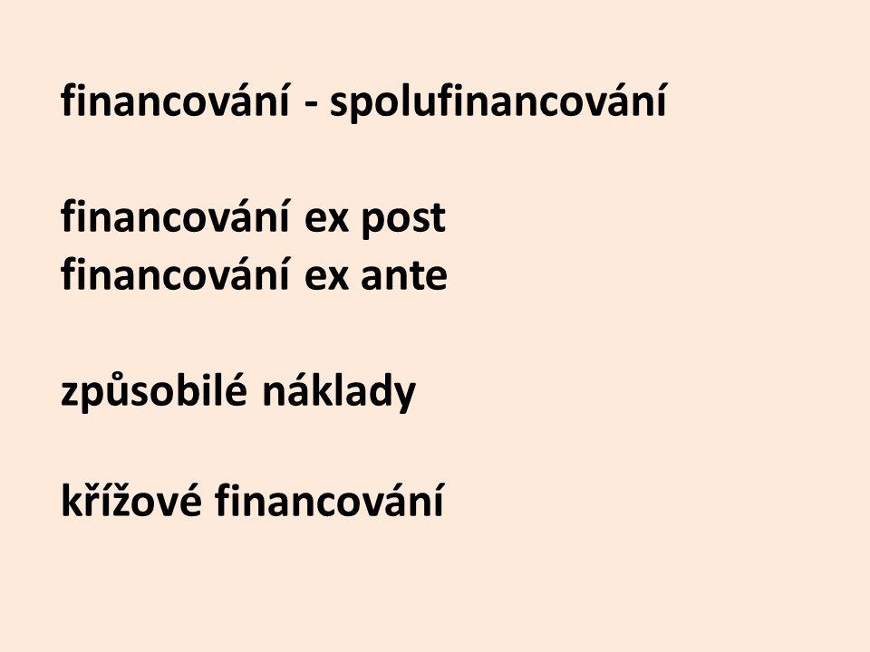 financování - spolufinancování financování ex post financování ex ante způsobilé náklady křížové financování