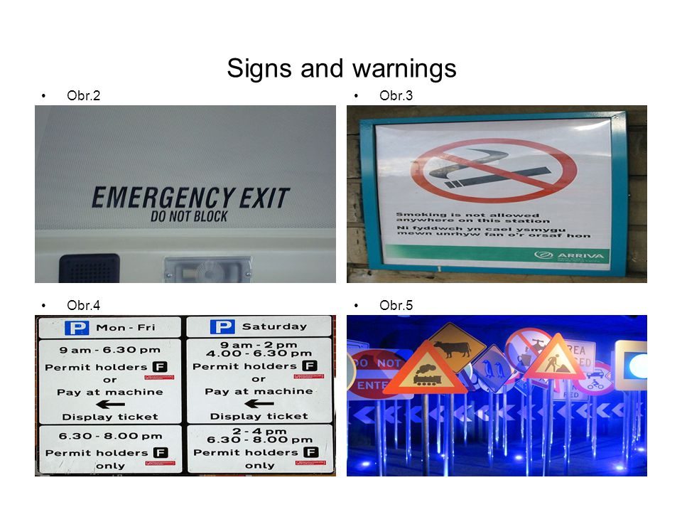 Signs and warnings Obr.2Obr.3 Obr.4Obr.5