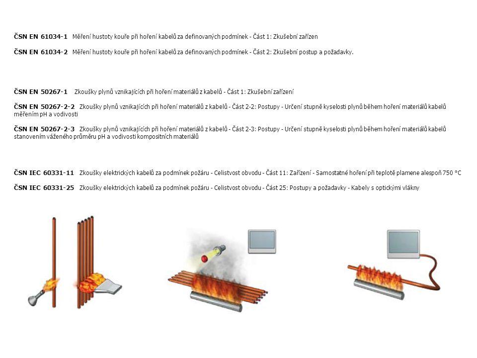 ČSN EN 61034-1 Měření hustoty kouře při hoření kabelů za definovaných podmínek - Část 1: Zkušební zařízen ČSN EN 61034-2 Měření hustoty kouře při hoření kabelů za definovaných podmínek - Část 2: Zkušební postup a požadavky.