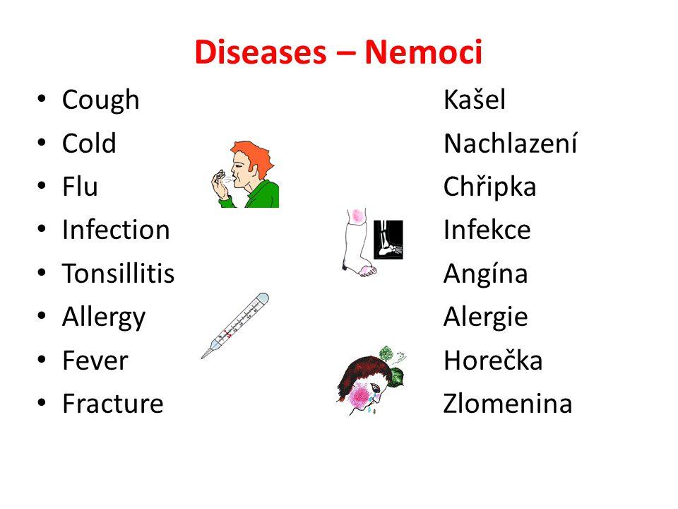 Diseases – Nemoci CoughKašel ColdNachlazení FluChřipka InfectionInfekce TonsillitisAngína AllergyAlergie FeverHorečka FractureZlomenina