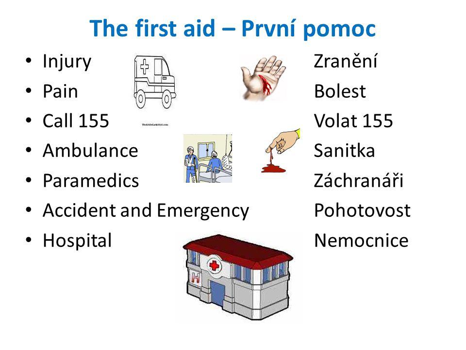 The first aid – První pomoc Injury Zranění Pain Bolest Call 155 Volat 155 Ambulance Sanitka Paramedics Záchranáři Accident and Emergency Pohotovost Hospital Nemocnice
