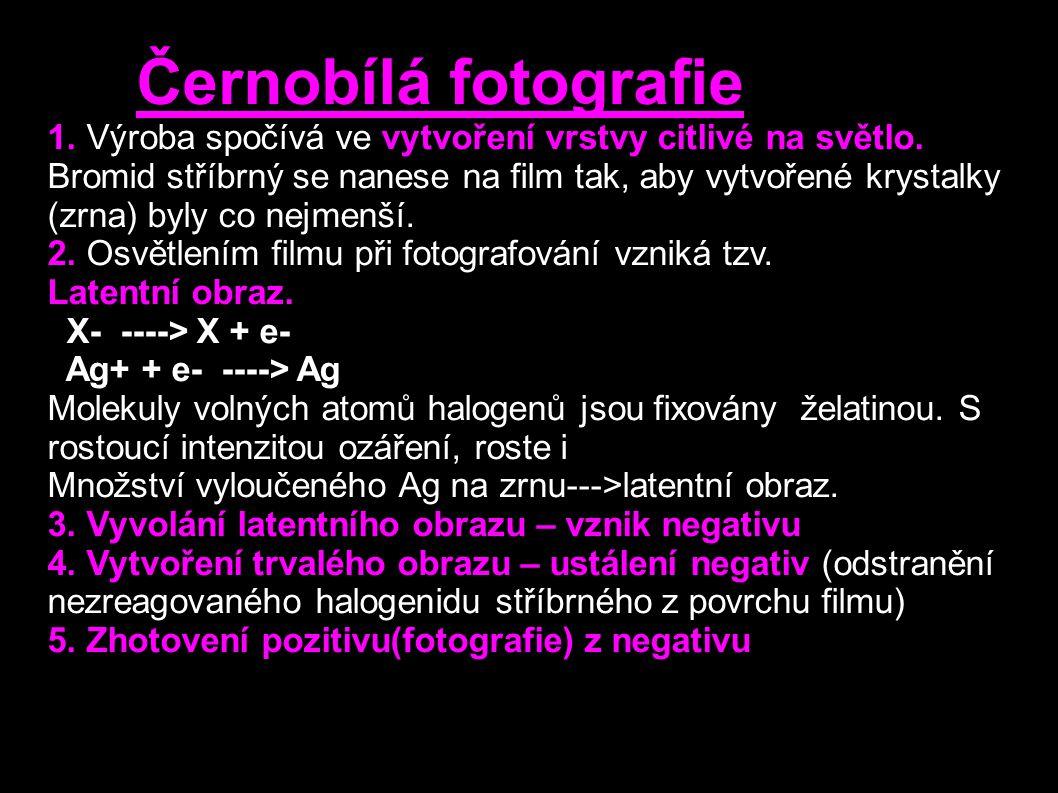 Černobílá fotografie 1. Výroba spočívá ve vytvoření vrstvy citlivé na světlo. Bromid stříbrný se nanese na film tak, aby vytvořené krystalky (zrna) by